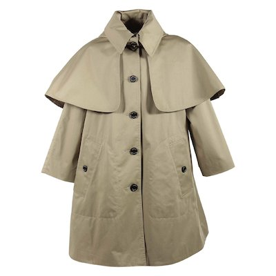 Beige cotton twill hooded a-line coat