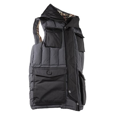 Black nylon down vest with hood