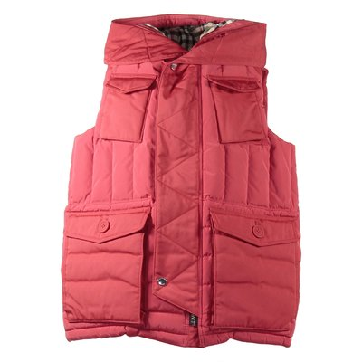 Red nylon hooded down vest