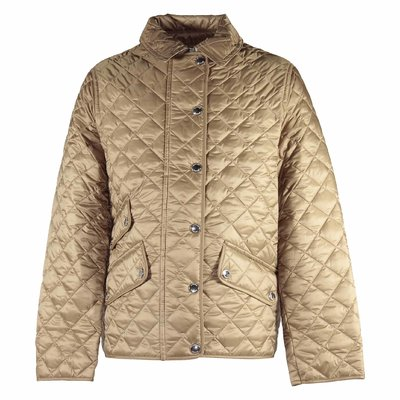 Beige nylon quilted jacket
