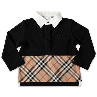 Black cotton piquet polo shirt