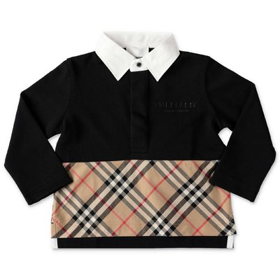 Burberry black cotton piquet MINI-QUENTIN polo shirt