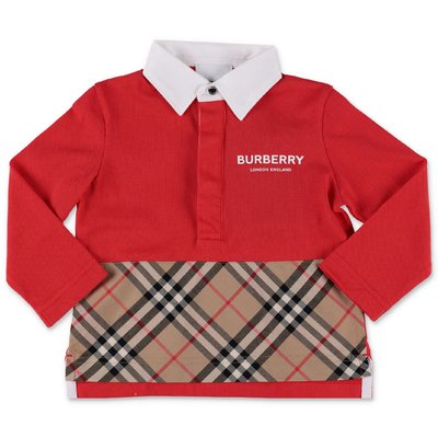 Burberry red cotton piquet MINI-QUENTIN polo shirt with vintage check insert