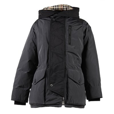 Black Vintage Check lining hooded down jacket