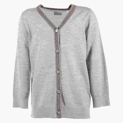 Marled grey pure merino wool cardigan