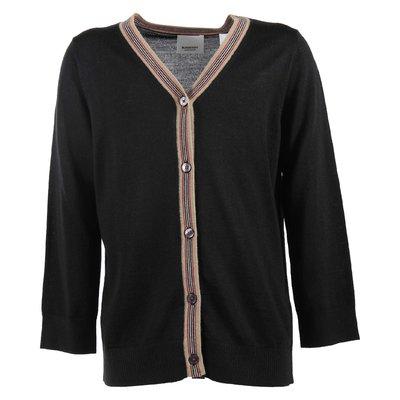 Black pure merino wool cardigan