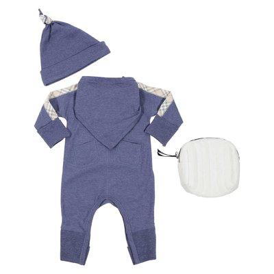 Bblue cotton jersey set with Vintage Check details