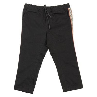 Black Icon Stripe cotton gabardine casual pants