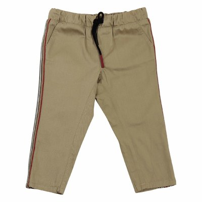 Khaki Icon Stripe cotton gabardine casual pants
