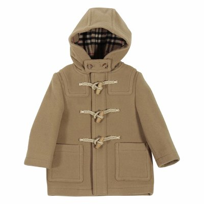 Beige wool felt hooded Montgomery