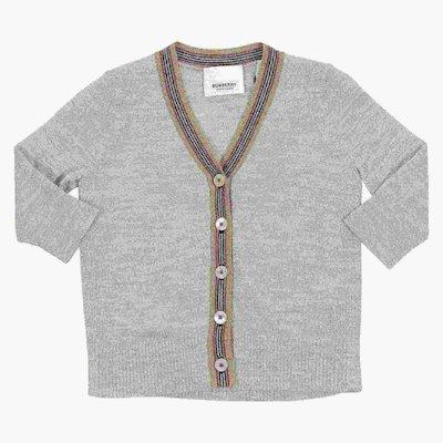 Cardigan grigio melange in pura lana merinos