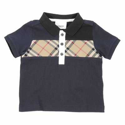 Polo blu navy mini Jeff in piquet di cotone con inserto Vintage Check