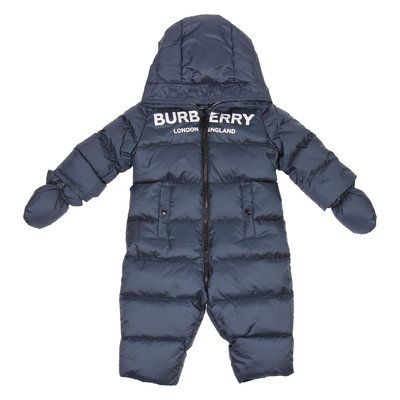 Blue logo nylon padded romper with hood