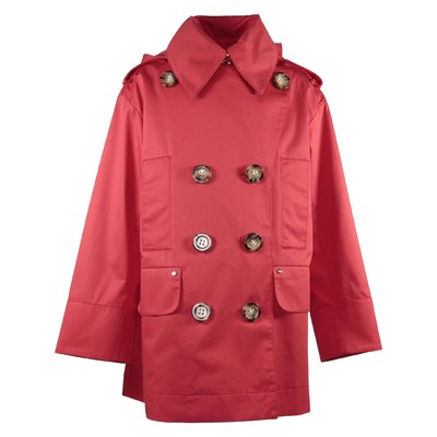 Red cotton canvas Merel trench coat with hood