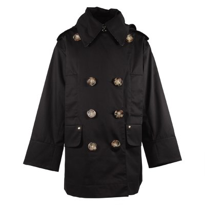 Black cotton canvas Merel trench coat with hood