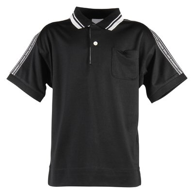 Black cotton jersey polo shirt