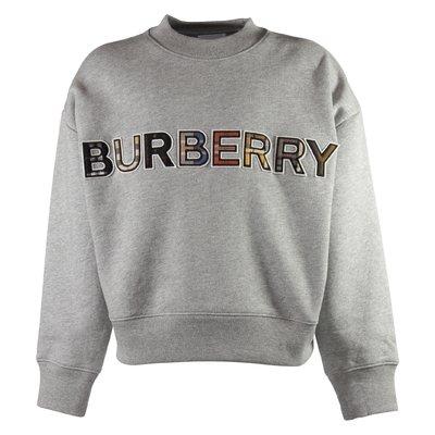 Melange grey tartan logo detail cotton ELLANDRA sweatshirt
