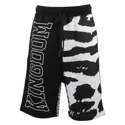 Black and white cotton football sweat shorts