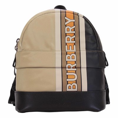 Burberry beige MINI NICO Stripe nylon backpack