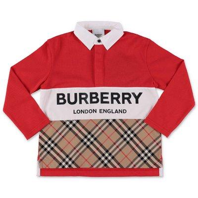 Burberry polo rossa in piquet di cotone