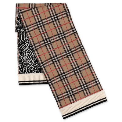 Burberry check and animal print pure merino wool knit scarf