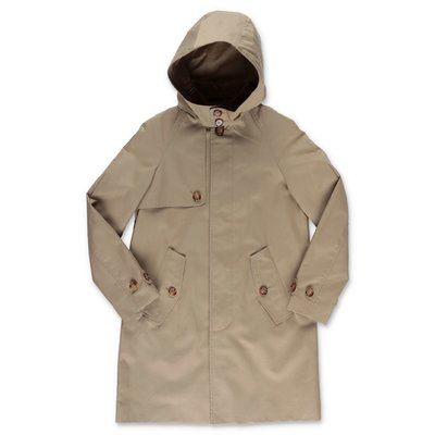 Burberry beige cotton canvas hooded BRADLEY trench