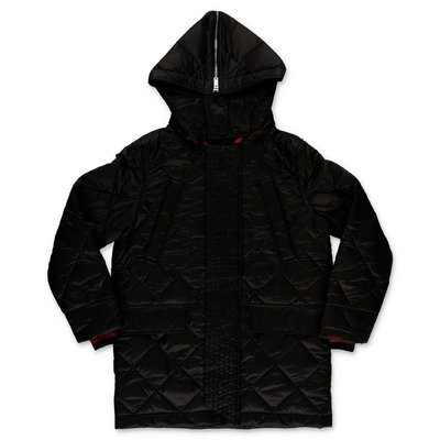 Burberry black nylon quilted hooded coat