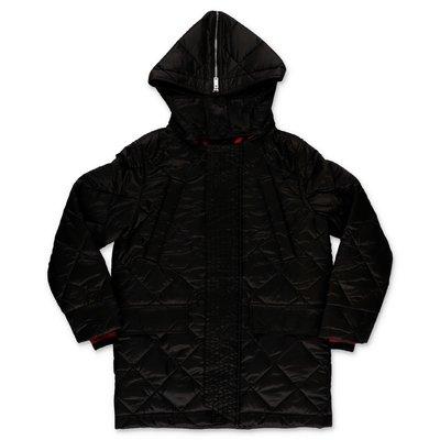 Burberry cappotto nero trapuntato in nylon con cappuccio