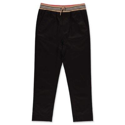 Burberry pantaloni neri in gabardina di cotone