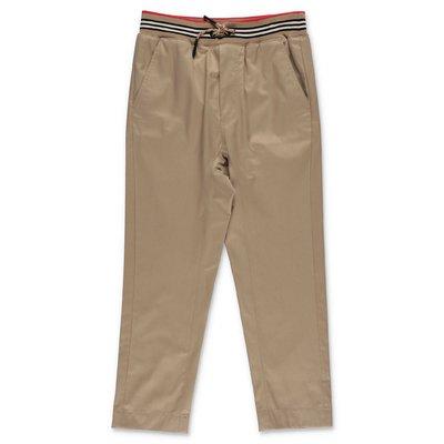 Burberry pantaloni beige in popeline di cotone