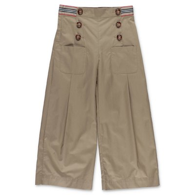 Burberry TRACEY beige cotton poplin pants