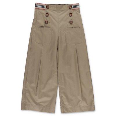 Burberry pantaloni beige TRACEY in popeline di cotone