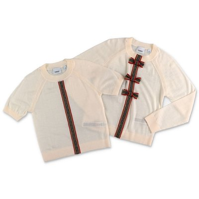 Burberry set in colore beige da due pezzi CORRINA in pura lana merino