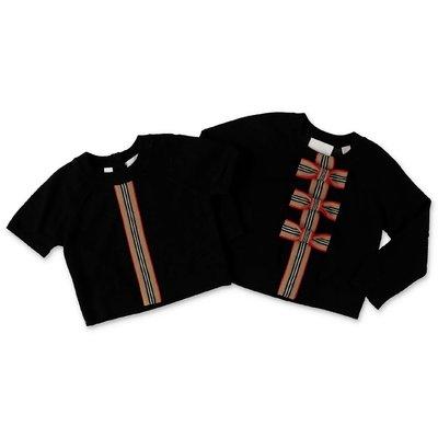 Burberry set in colore nero da due pezzi MINI-CORRINA in pura lana merino