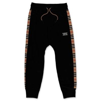 Burberry pantaloni neri HAMILTON in felpa di cotone
