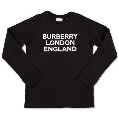 Burberry t-shirt nera in jersey di cotone con logo