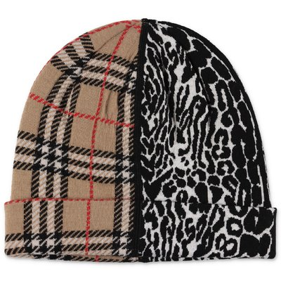 Burberry check and animal print merino wool knit hat