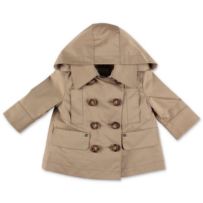 Burberry MINI MEREL beige cotton canvas trench coat with hood