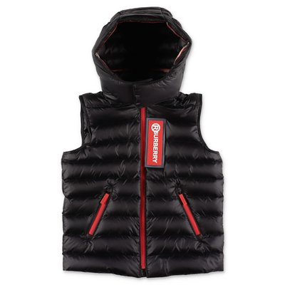 Burberry KELLER black nylon down feather vest with hood
