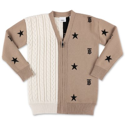 Burberry KALSIE contrasting panels wool & cashmere knit cardigan