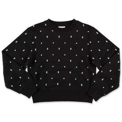 Burberry black cotton sweatshirt with TB monogram and stars