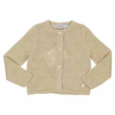Gold cotton blend cardigan