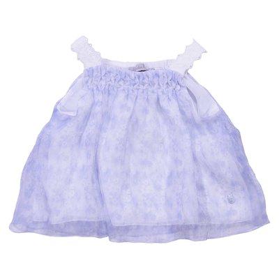 Blusa azzurra stampa floreale in seta