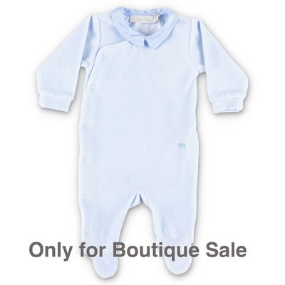 Baby Dior light blue cotton chenille romper