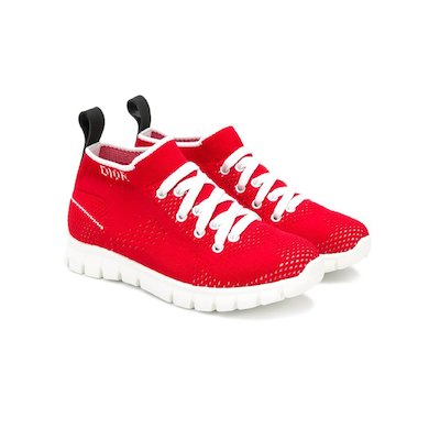 Red knit sneakers
