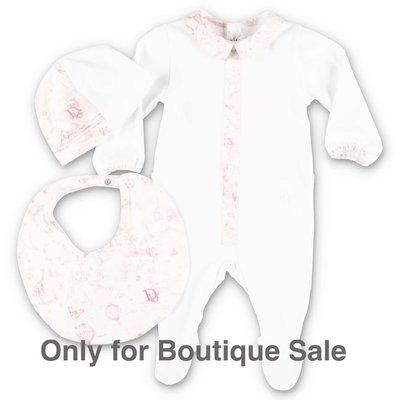 Baby Dior set bianco e rosa in jersey di cotone con tutina, cappello e bavetta