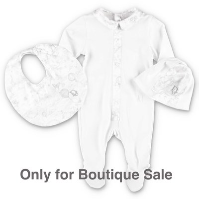 Baby Dior white & grey cotton jersey romper, hat & bib set