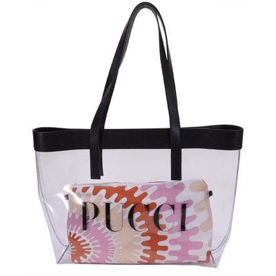 EMILIO PUCCI transparent bag with printed cotton clutch