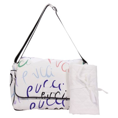 EMILIO PUCCI white logo detail nylon changing bag