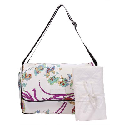White butterfly print nylon changing bag